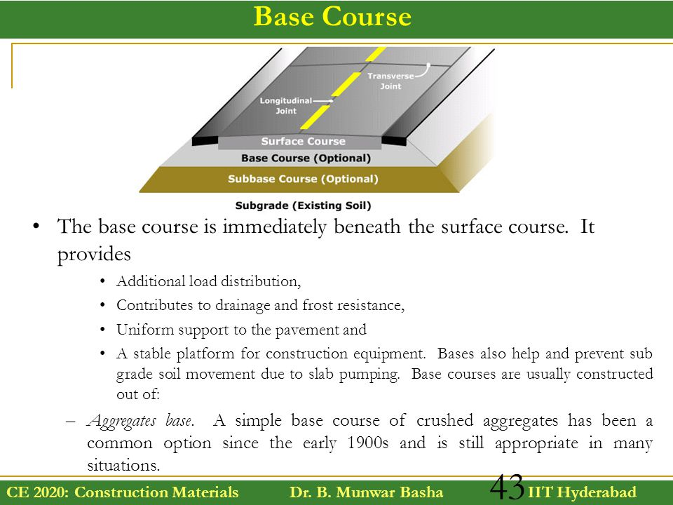 Base Course The base course is immediately beneath the surface course. It provides. Additional load distribution,