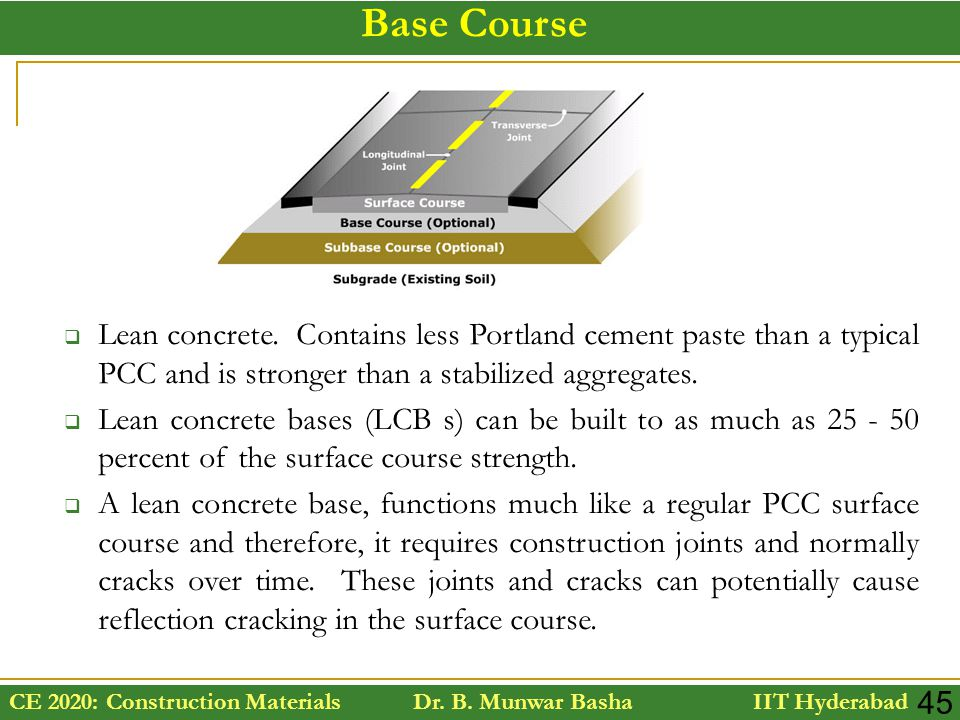Base Course Lean concrete. Contains less Portland cement paste than a typical PCC and is stronger than a stabilized aggregates.