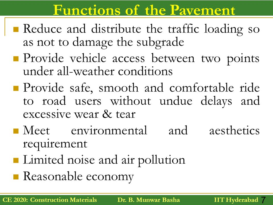 Functions of the Pavement