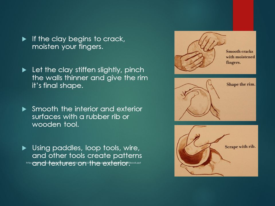 If the clay begins to crack, moisten your fingers.
