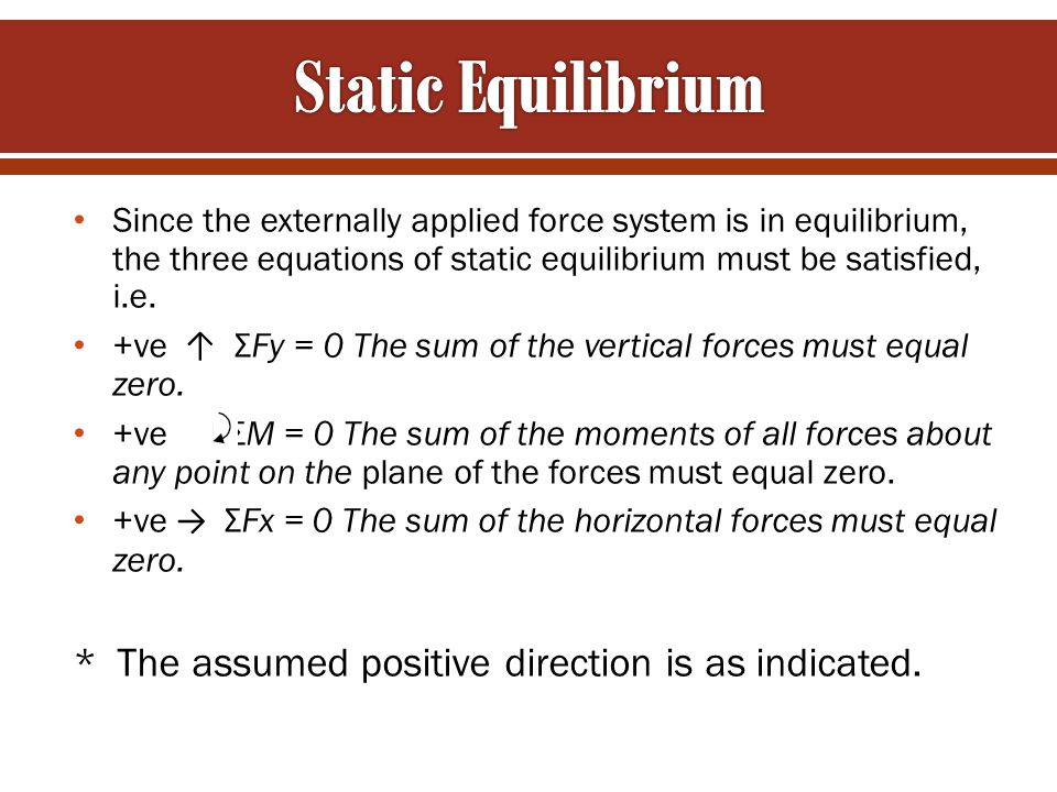 Static Equilibrium * The assumed positive direction is as indicated.