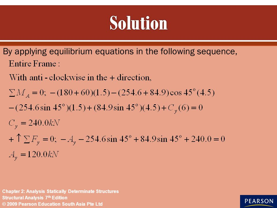 Solution By applying equilibrium equations in the following sequence,