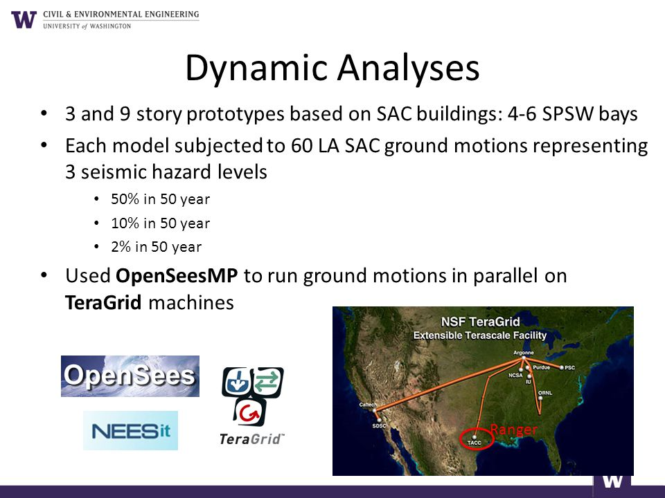 Dynamic Analyses 3 and 9 story prototypes based on SAC buildings: 4-6 SPSW bays.