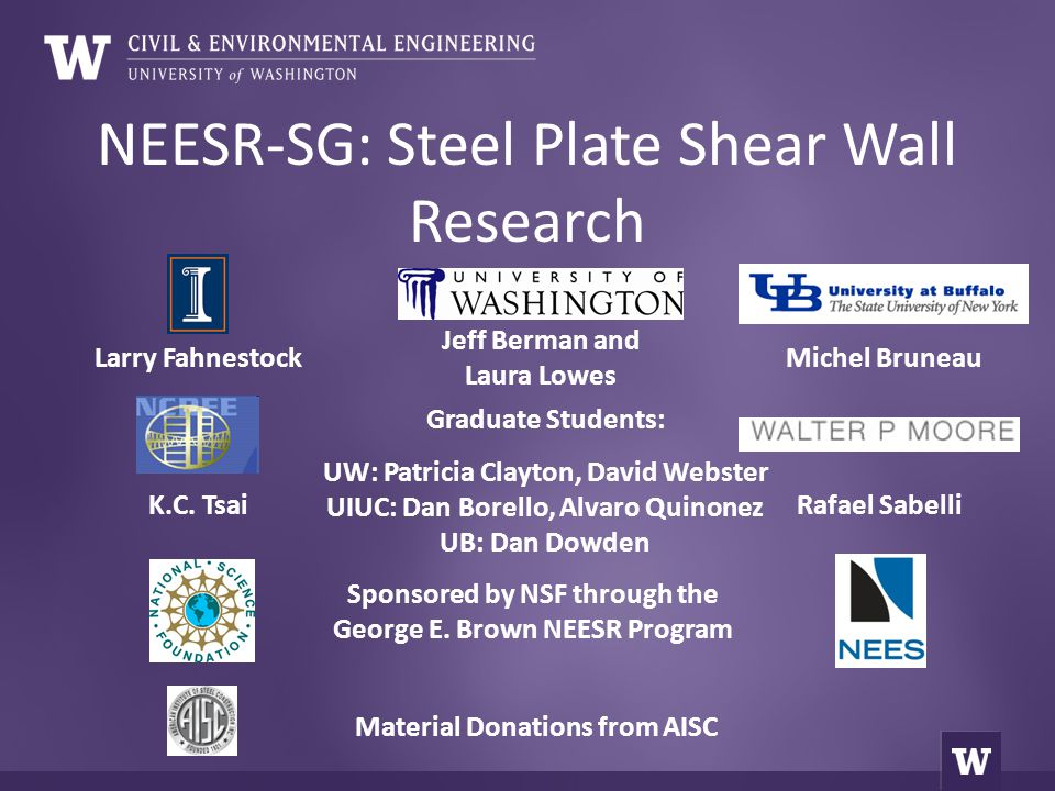 NEESR-SG: Steel Plate Shear Wall Research