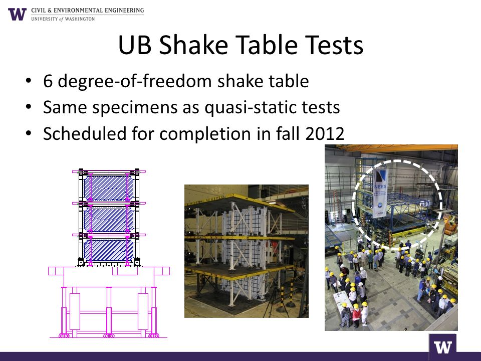 UB Shake Table Tests 6 degree-of-freedom shake table