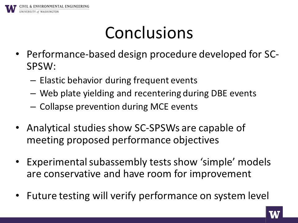 Conclusions Performance-based design procedure developed for SC- SPSW: