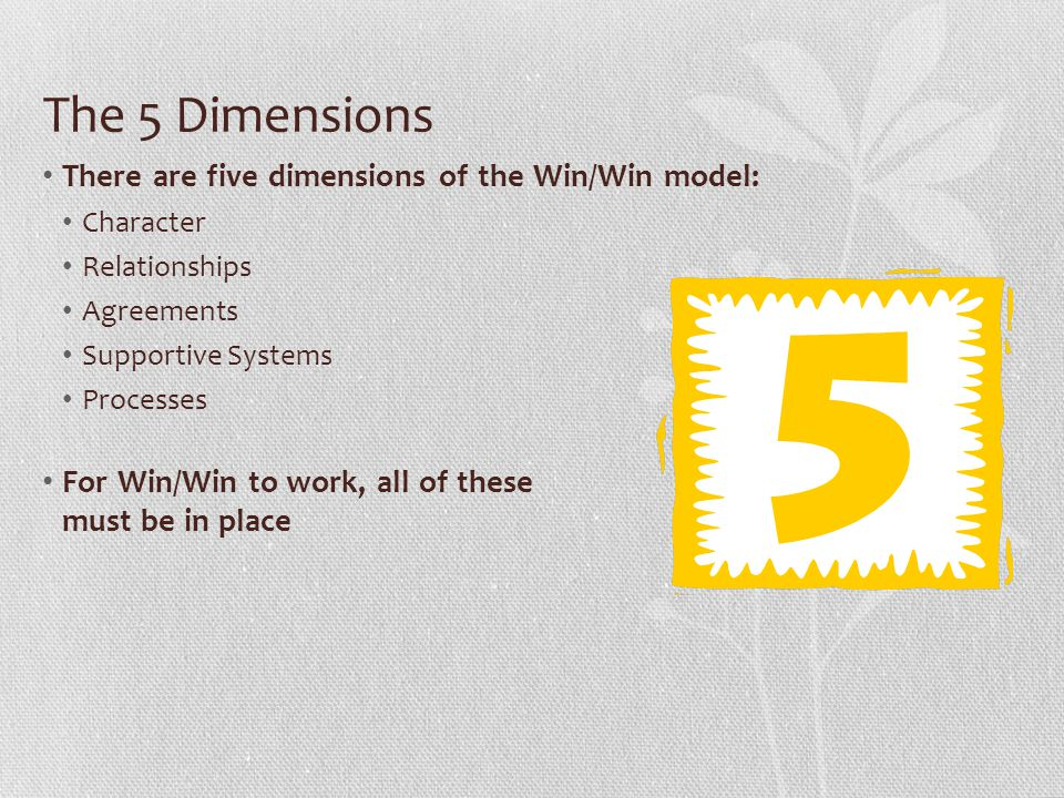 The 5 Dimensions There are five dimensions of the Win/Win model: