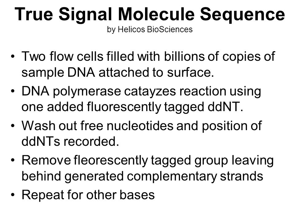 True Signal Molecule Sequence by Helicos BioSciences