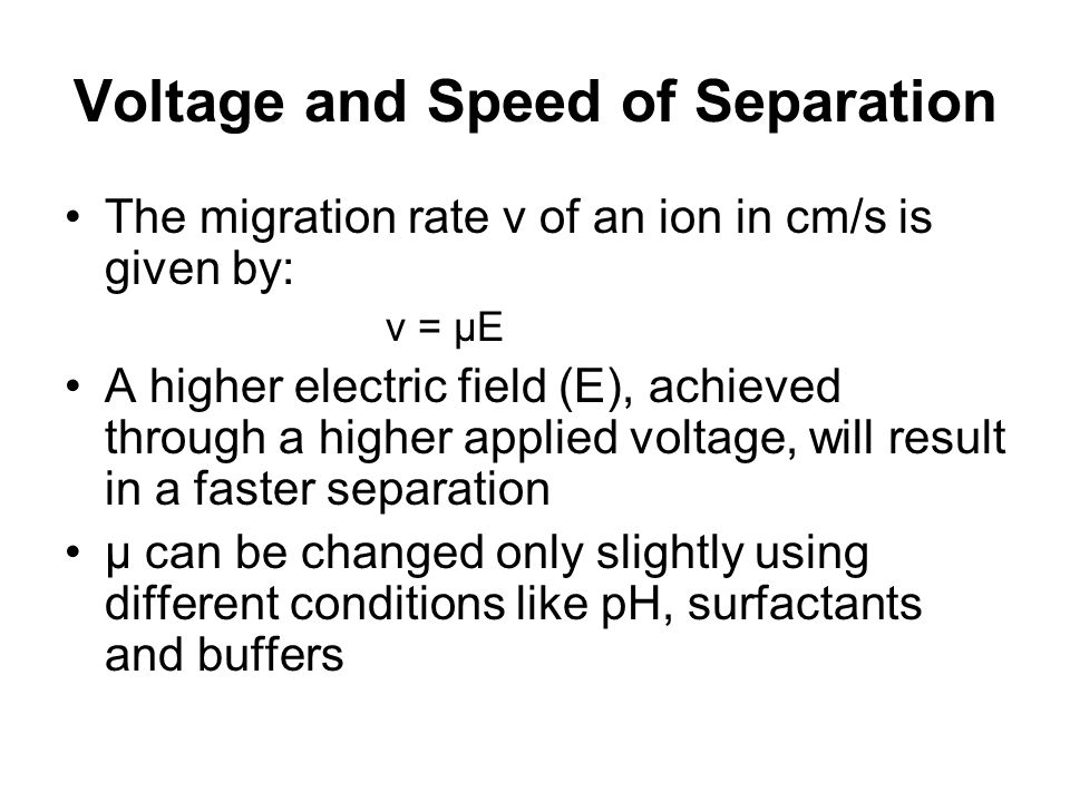 Voltage and Speed of Separation