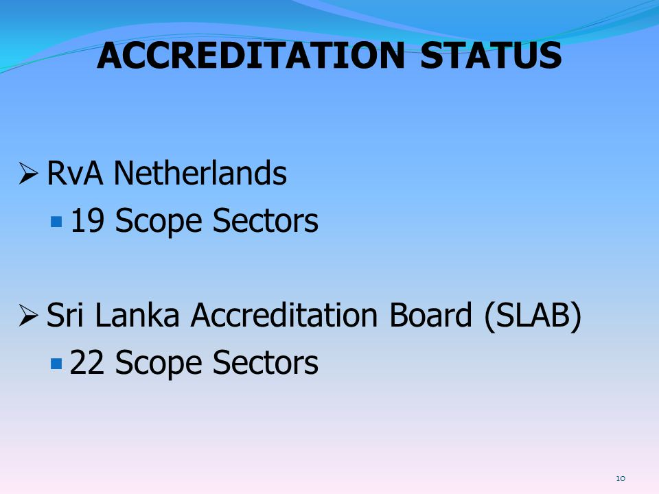 ACCREDITATION STATUS RvA Netherlands 19 Scope Sectors