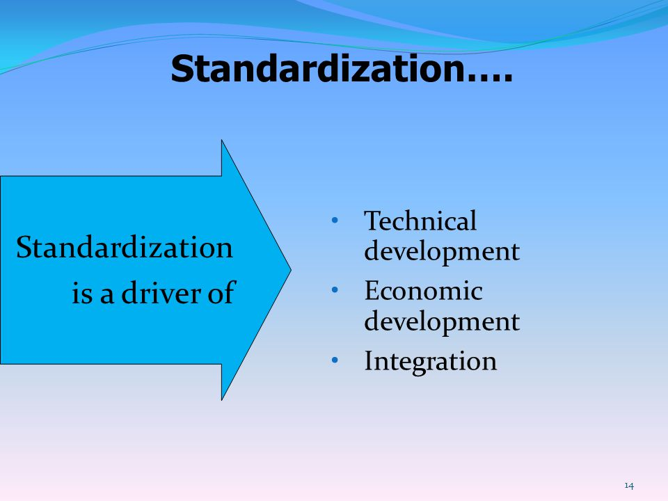Standardization…. Standardization is a driver of Technical development