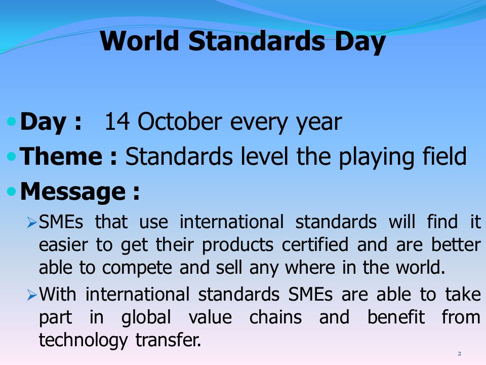 World Standards Day Day : 14 October every year