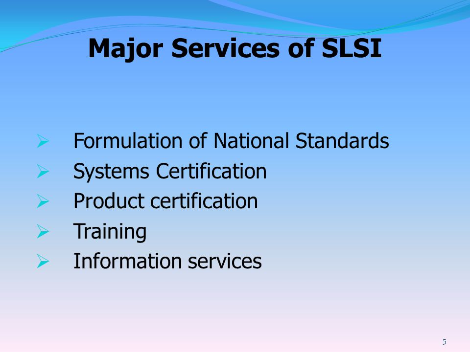Major Services of SLSI Formulation of National Standards