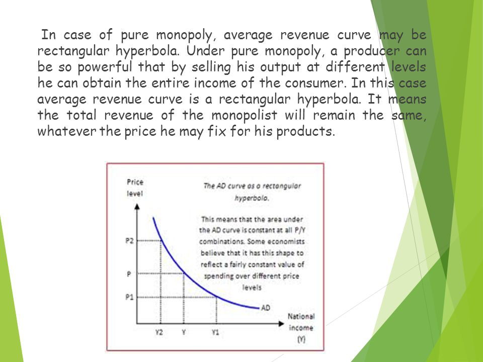 In case of pure monopoly, average revenue curve may be rectangular hyperbola.