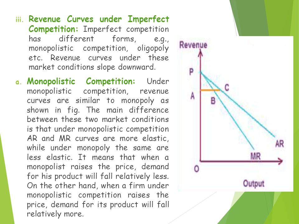 Revenue Curves under Imperfect Competition: Imperfect competition has different forms, e.g., monopolistic competition, oligopoly etc. Revenue curves under these market conditions slope downward.
