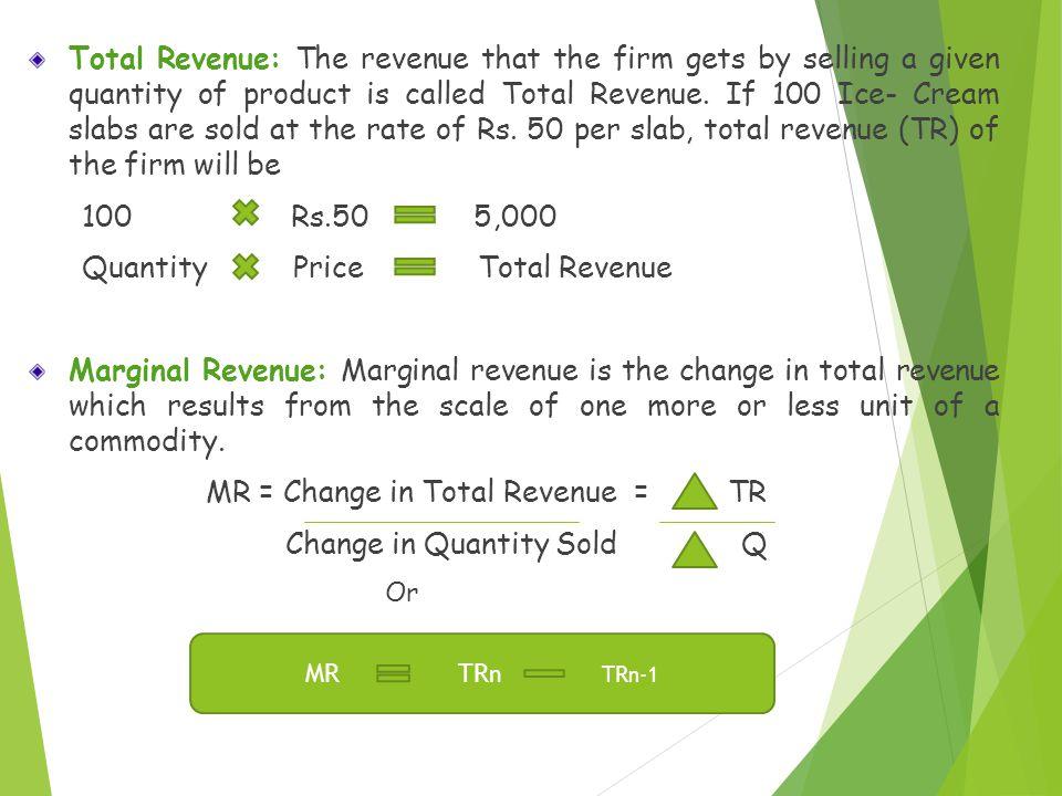 Quantity Price Total Revenue