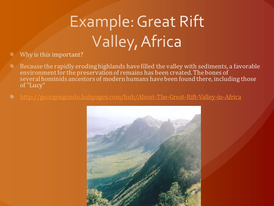 Example: Great Rift Valley, Africa