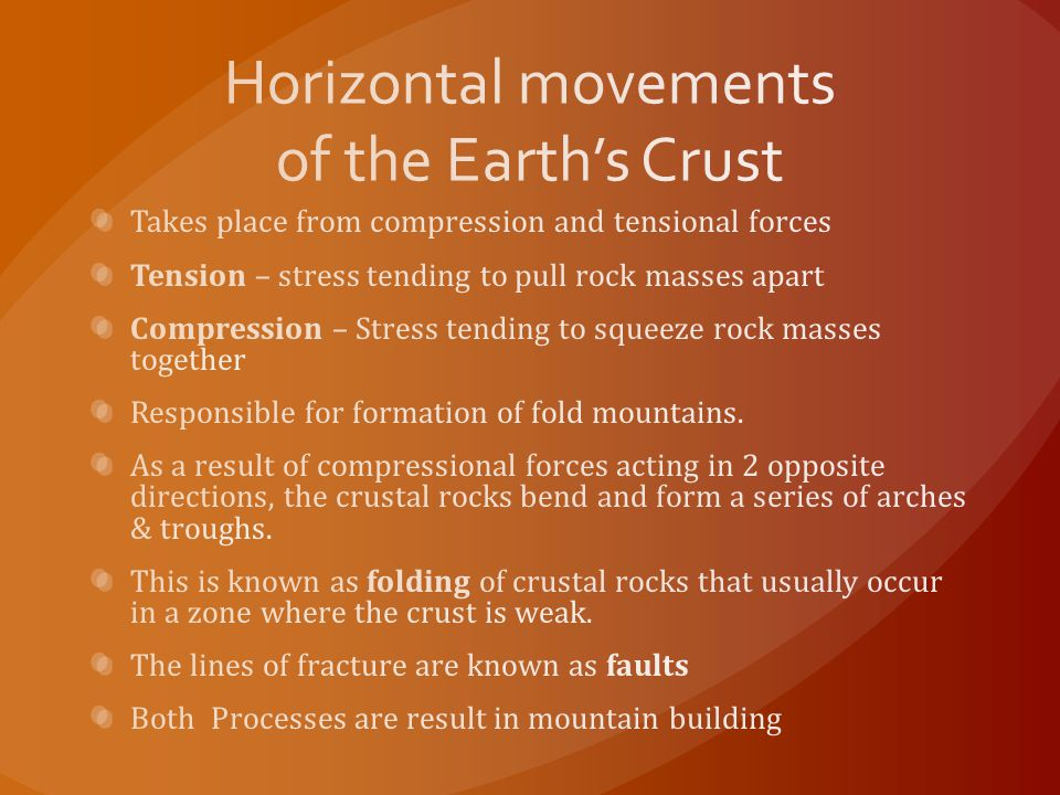 Horizontal movements of the Earth's Crust