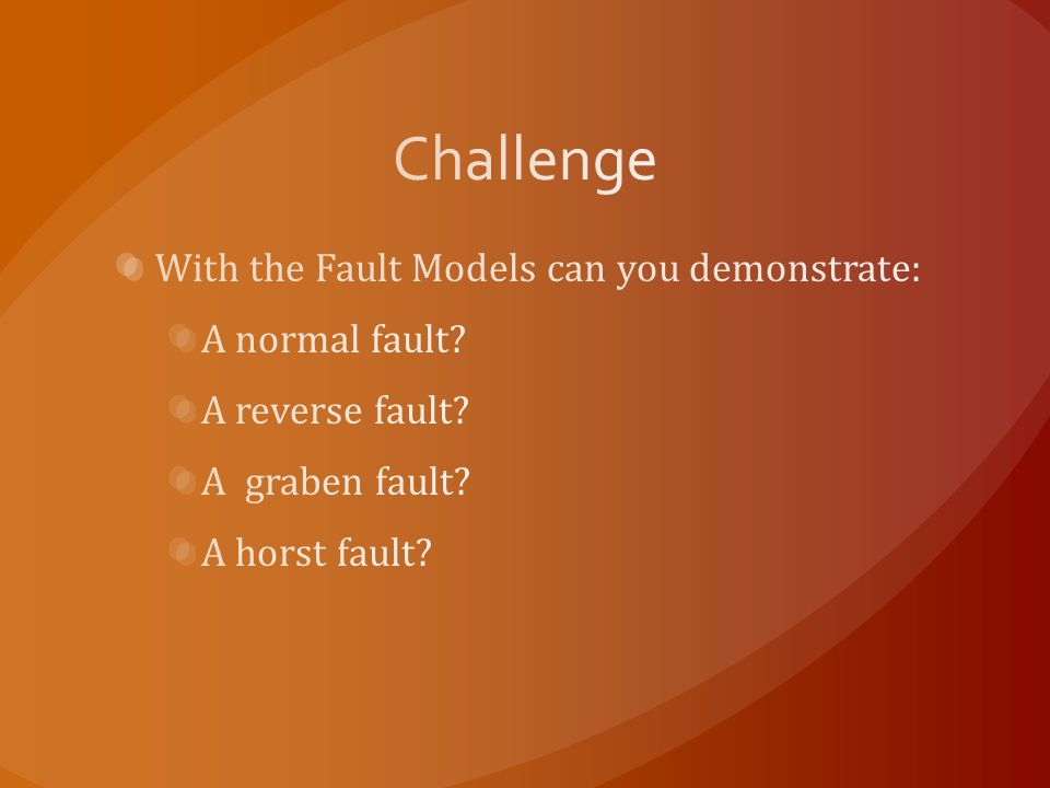 Challenge With the Fault Models can you demonstrate: A normal fault