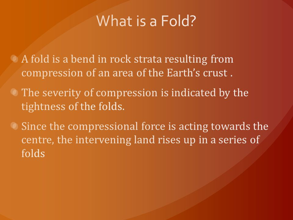What is a Fold A fold is a bend in rock strata resulting from compression of an area of the Earth's crust .