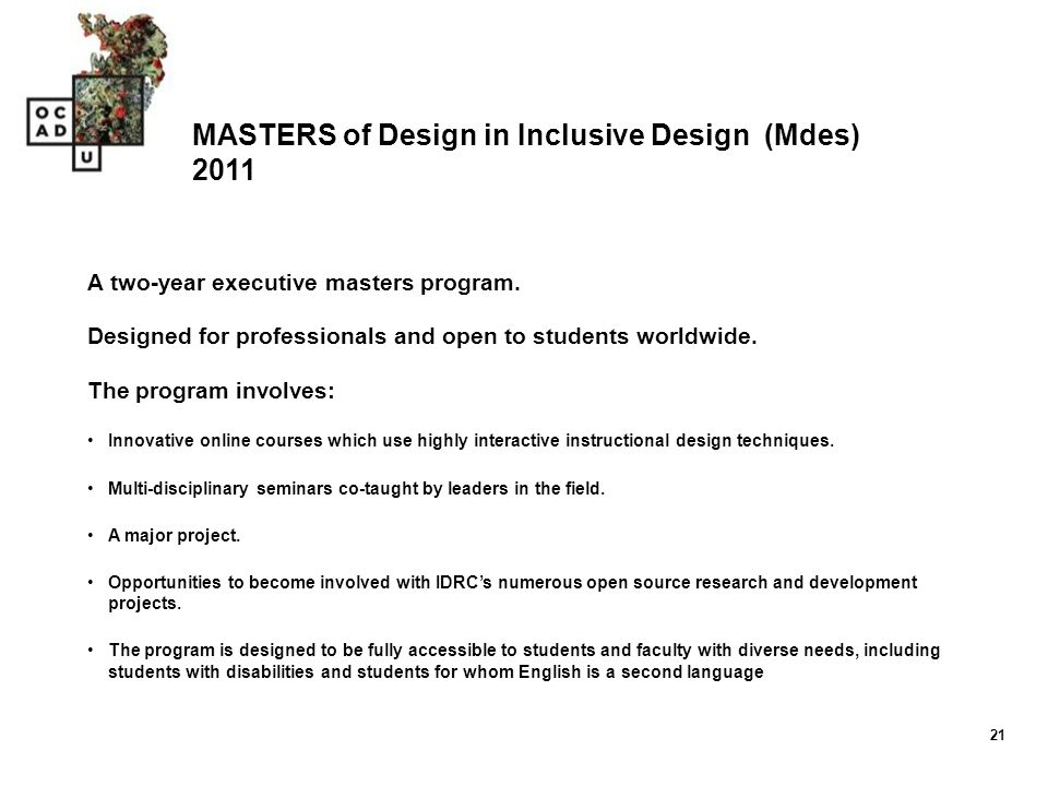 MASTERS of Design in Inclusive Design (Mdes) 2011