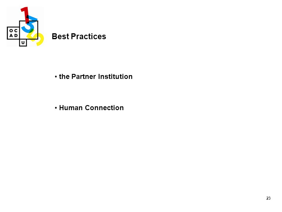 Best Practices the Partner Institution Human Connection 23