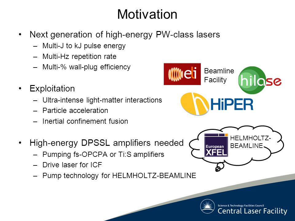 Motivation Next generation of high-energy PW-class lasers Exploitation
