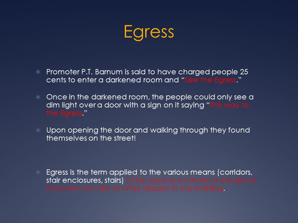 Egress Promoter P.T. Barnum is said to have charged people 25 cents to enter a darkened room and See the Egress.
