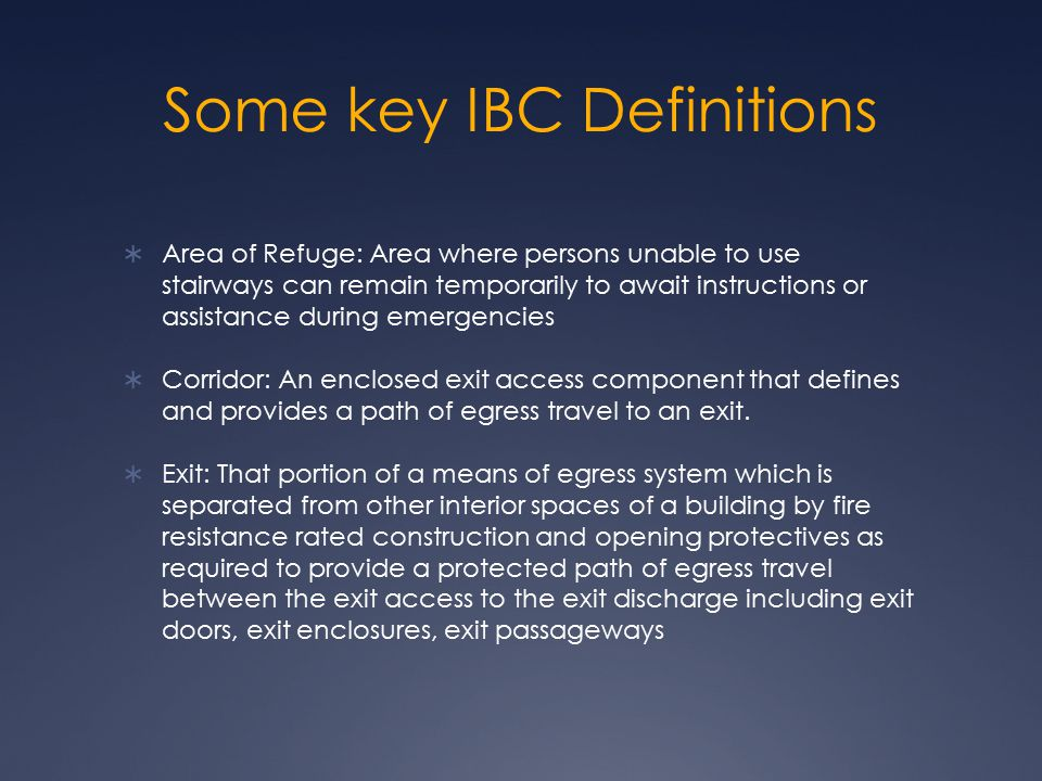 Some key IBC Definitions
