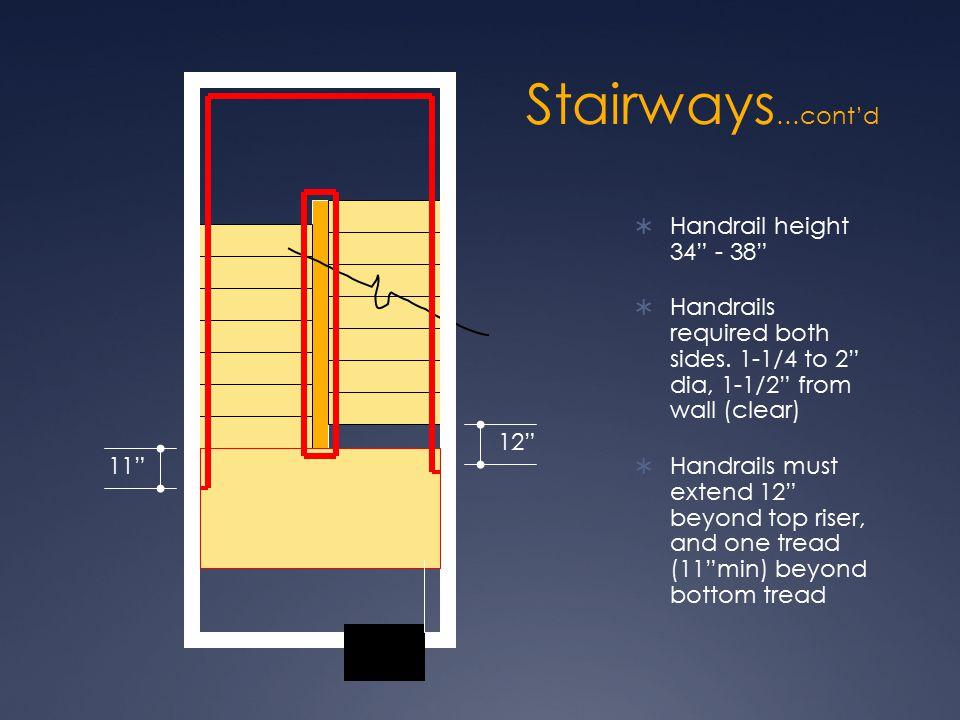 Stairways…cont'd Handrail height 34 - 38