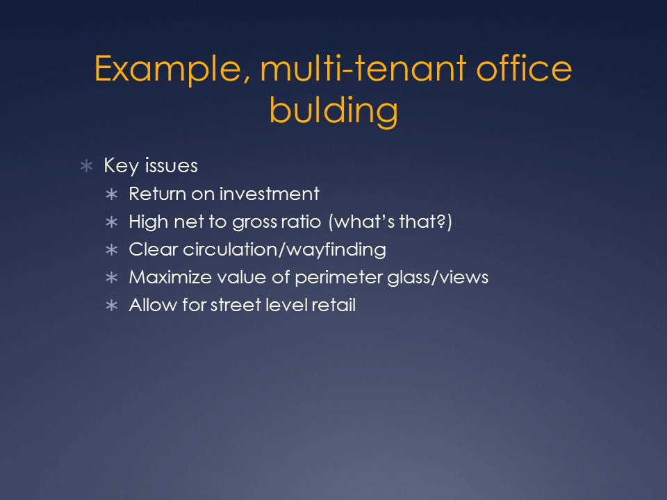 Example, multi-tenant office bulding