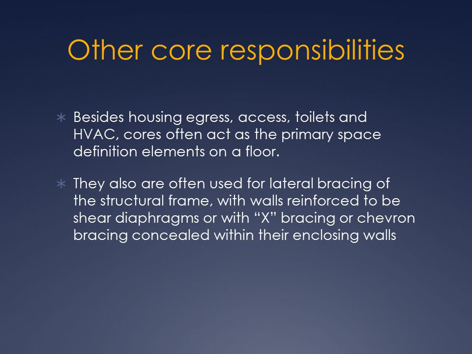 Other core responsibilities