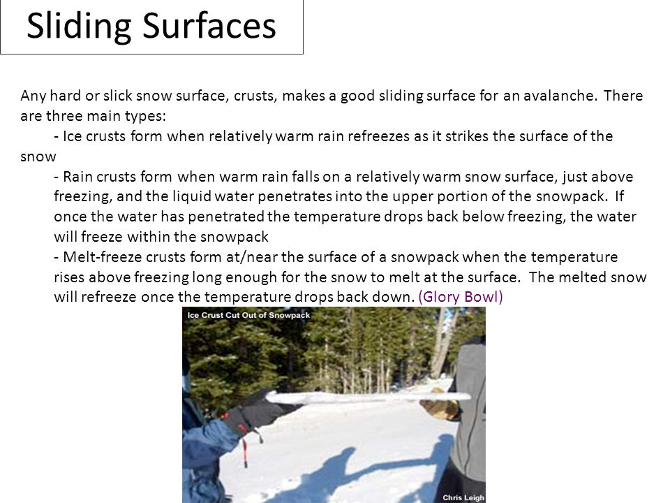 Sliding Surfaces Any hard or slick snow surface, crusts, makes a good sliding surface for an avalanche. There are three main types: