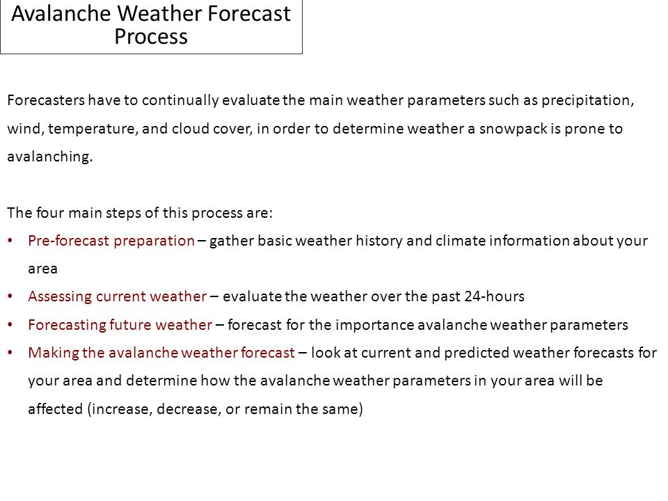 Avalanche Weather Forecast Process