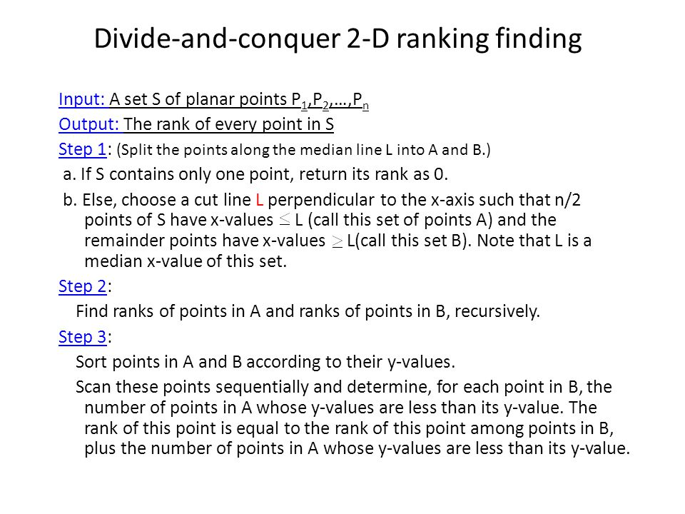 Divide-and-conquer 2-D ranking finding