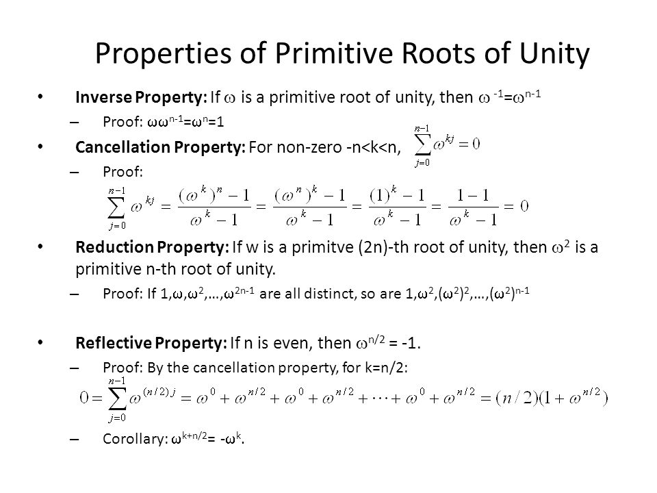 Properties of Primitive Roots of Unity