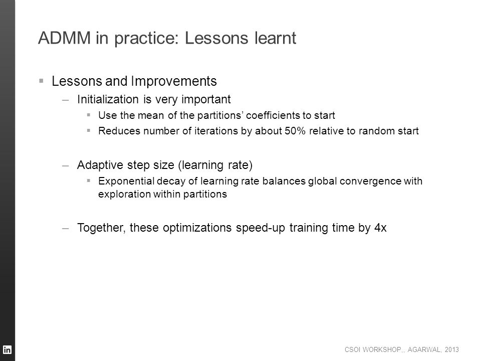 ADMM in practice: Lessons learnt