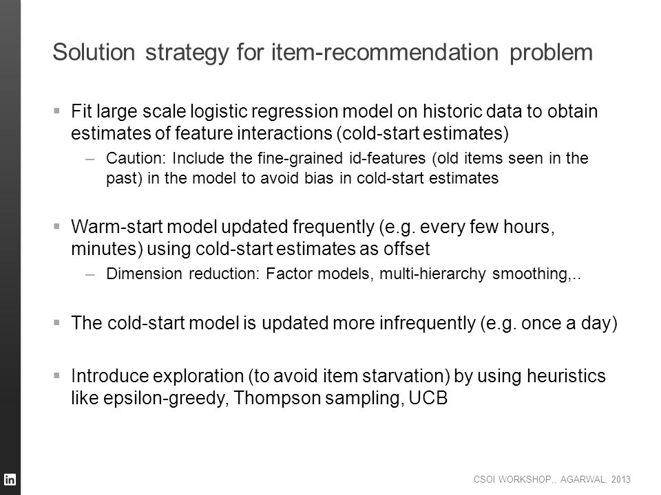 Solution strategy for item-recommendation problem
