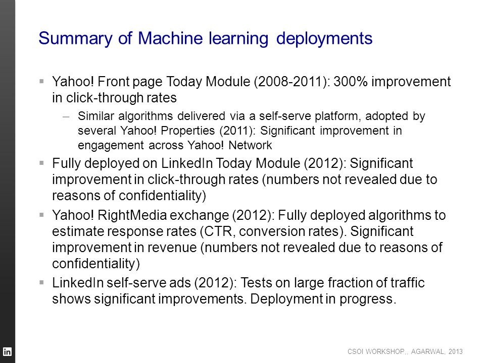 Summary of Machine learning deployments