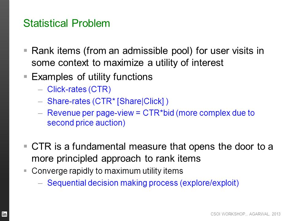 Statistical Problem Rank items (from an admissible pool) for user visits in some context to maximize a utility of interest.