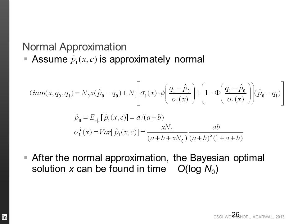 Normal Approximation Assume is approximately normal