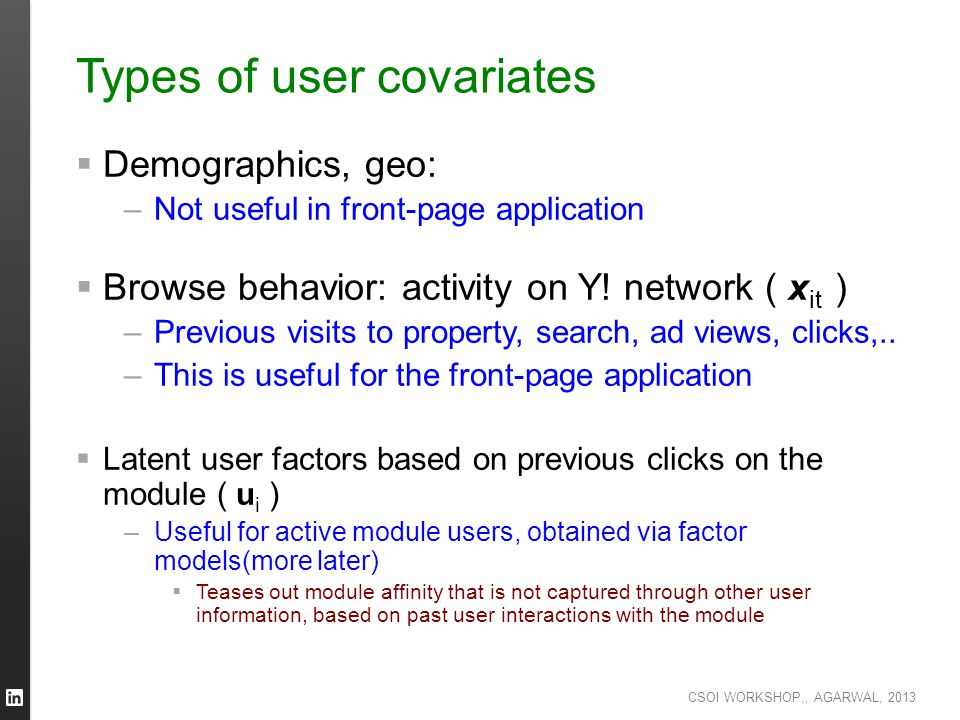 Types of user covariates