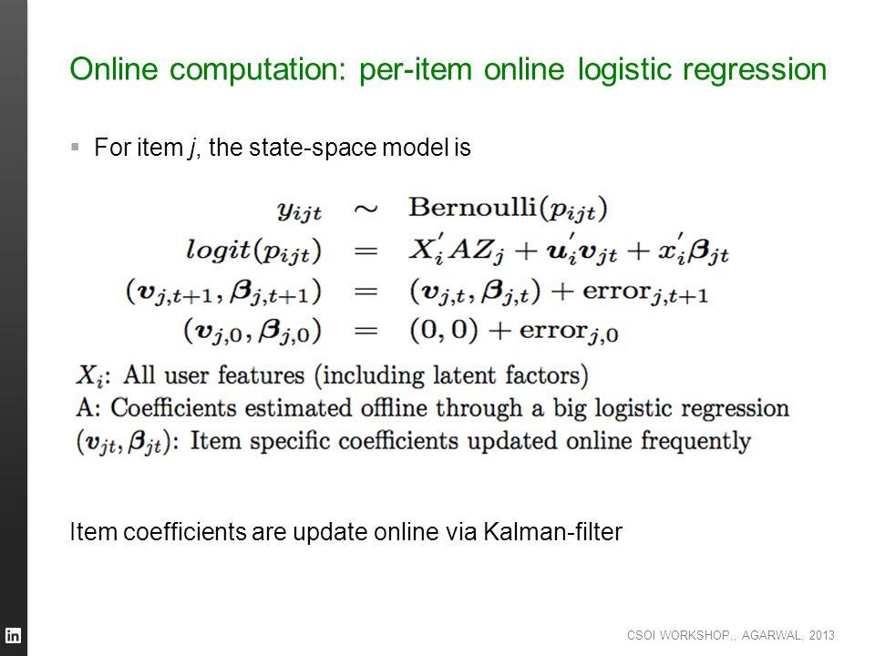 Online computation: per-item online logistic regression