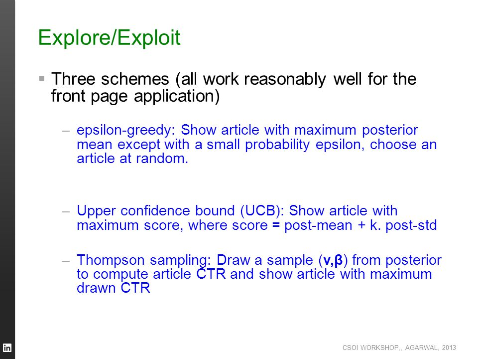 Explore/Exploit Three schemes (all work reasonably well for the front page application)