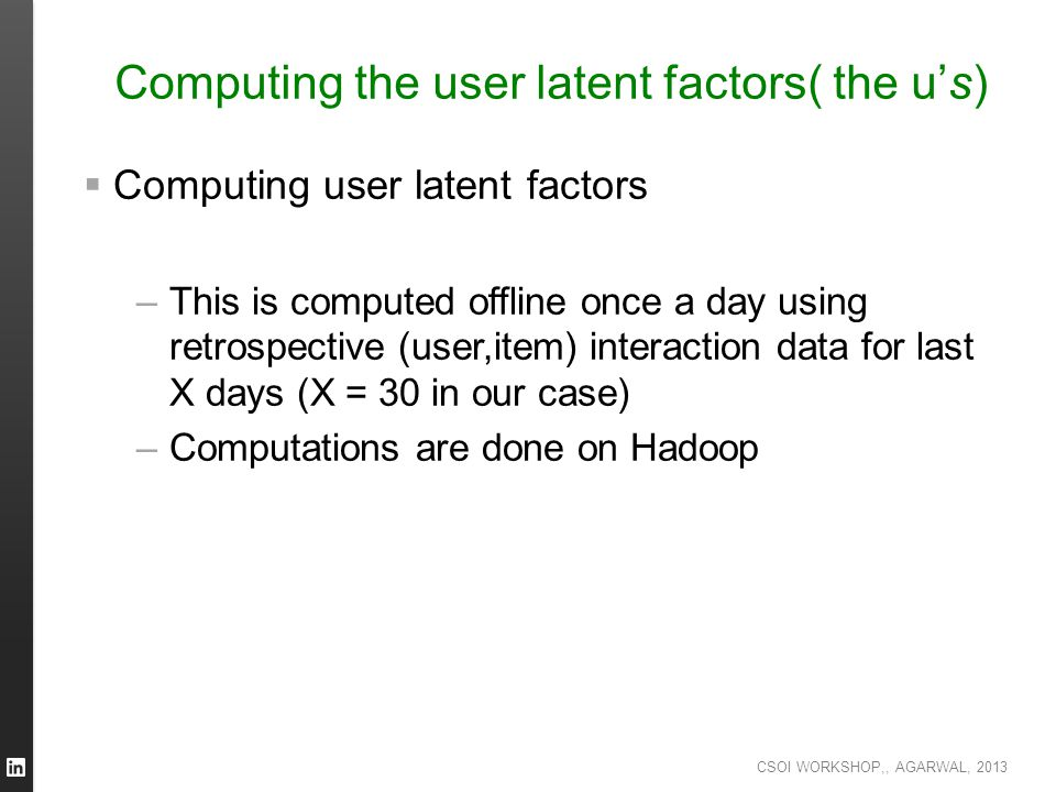 Computing the user latent factors( the u's)