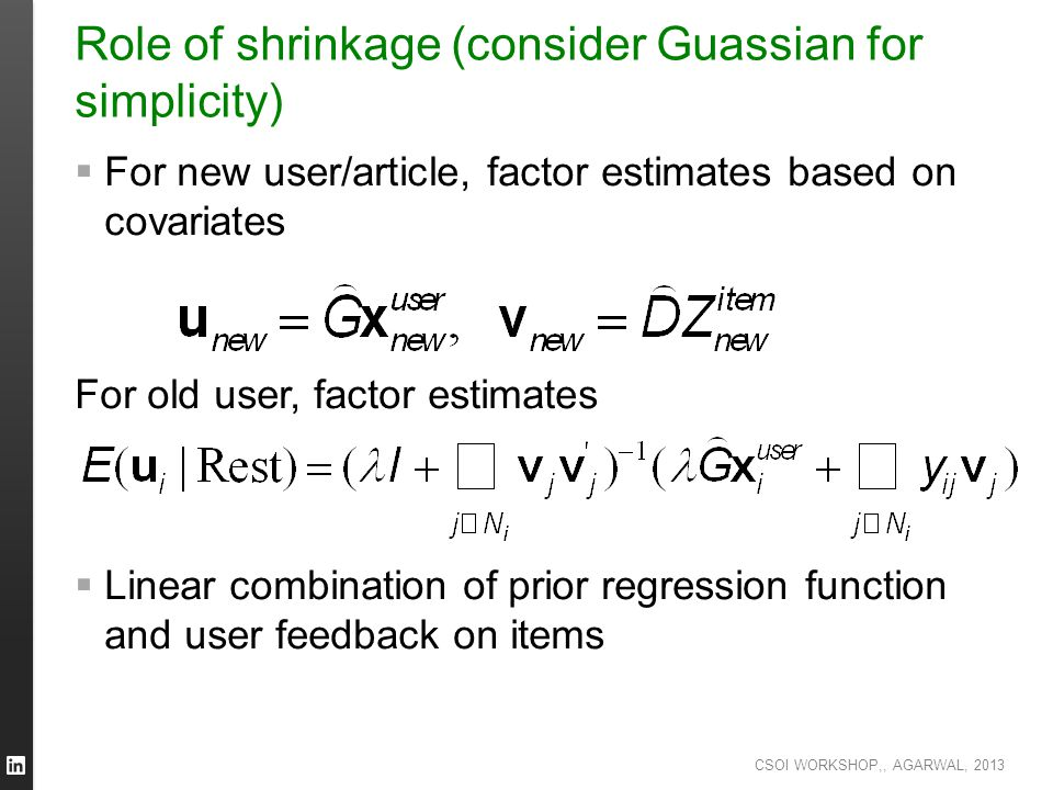 Role of shrinkage (consider Guassian for simplicity)