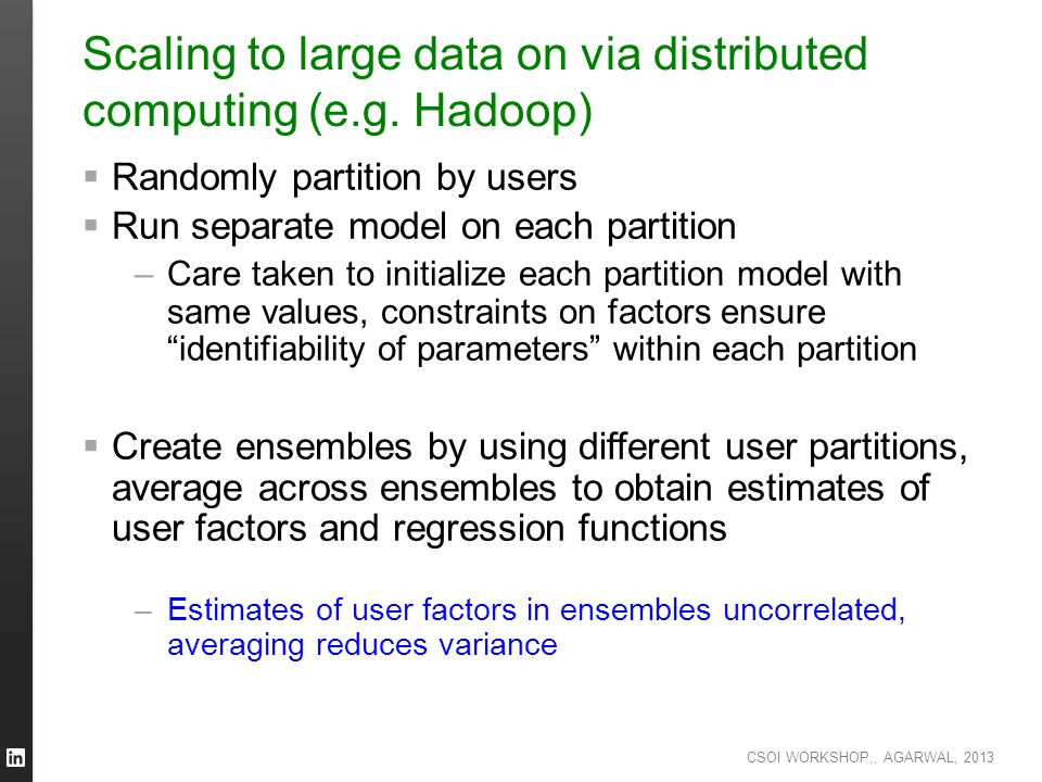 Scaling to large data on via distributed computing (e.g. Hadoop)