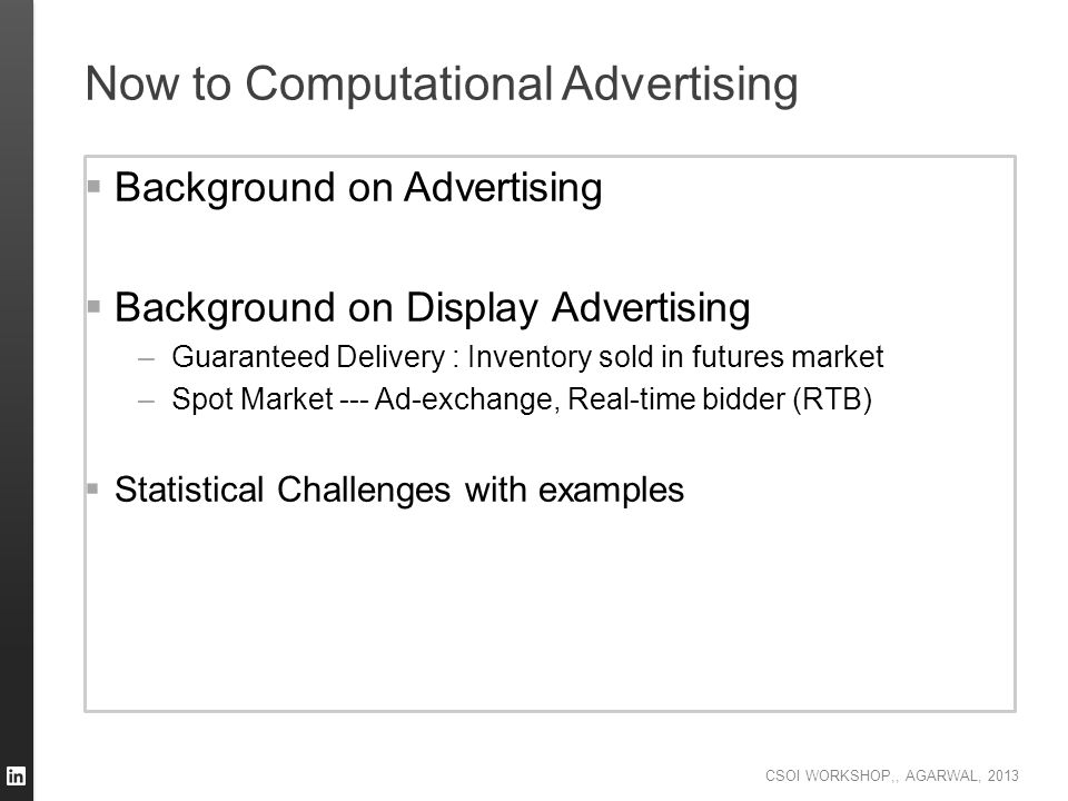 Now to Computational Advertising