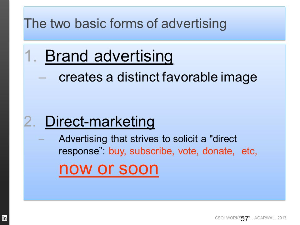 The two basic forms of advertising