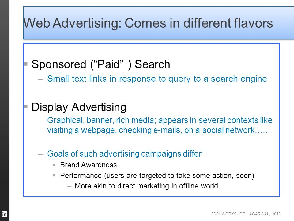 Web Advertising: Comes in different flavors